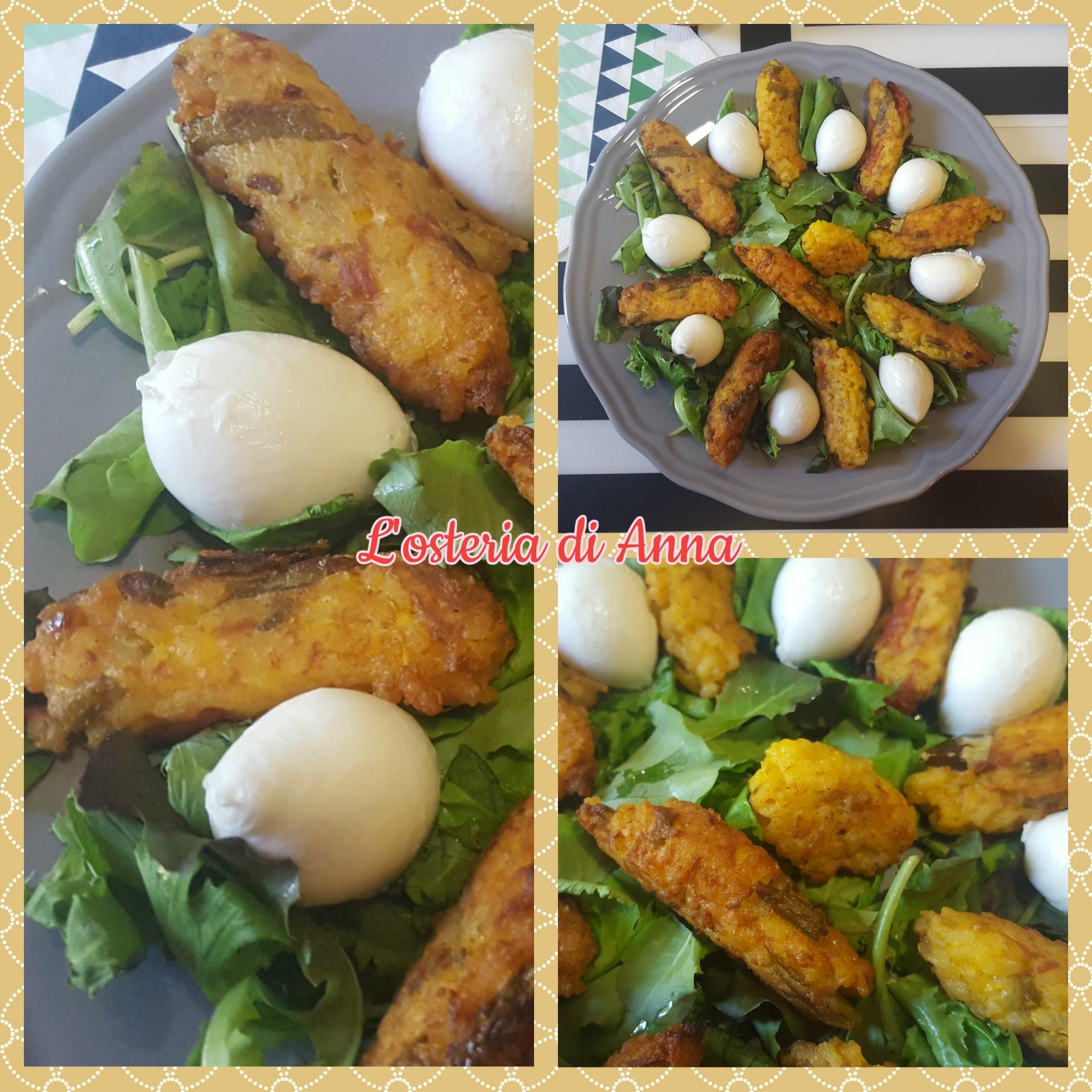 Crocchette di riso servite con insalata e mozzarelle di bufala