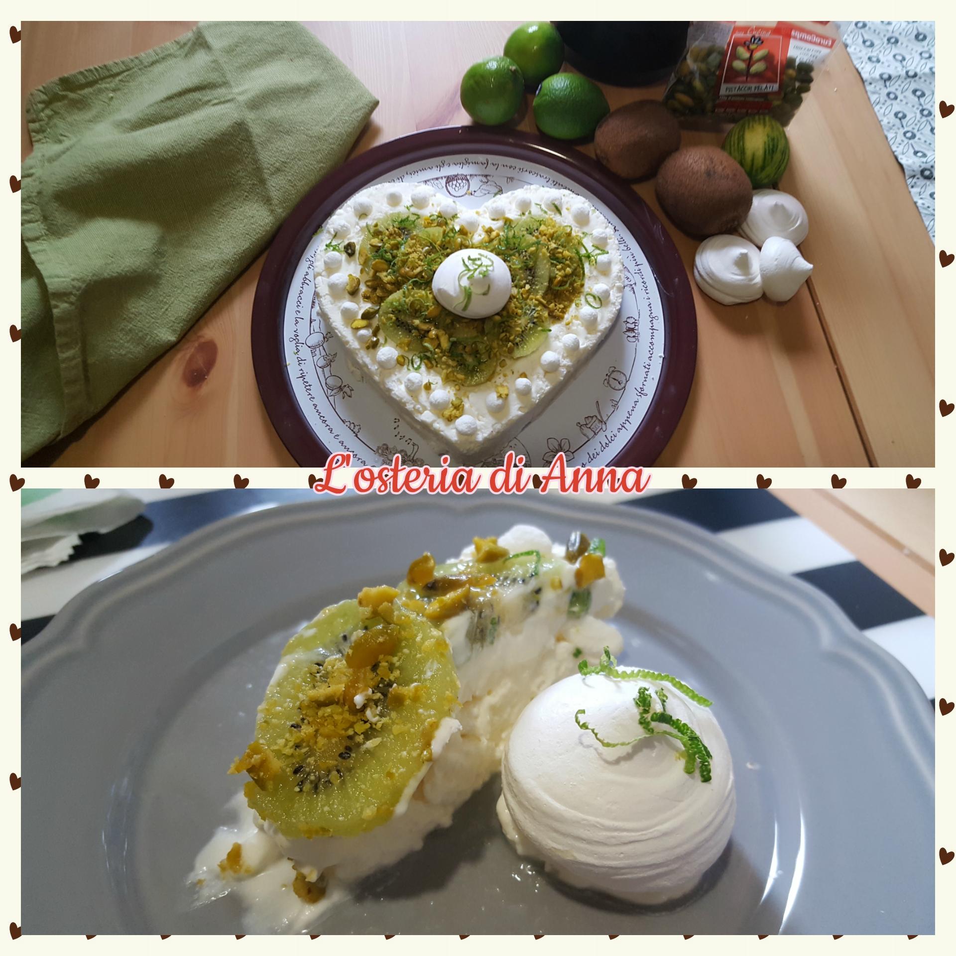 Semifreddo servito con kiwi, pistacchi e lime