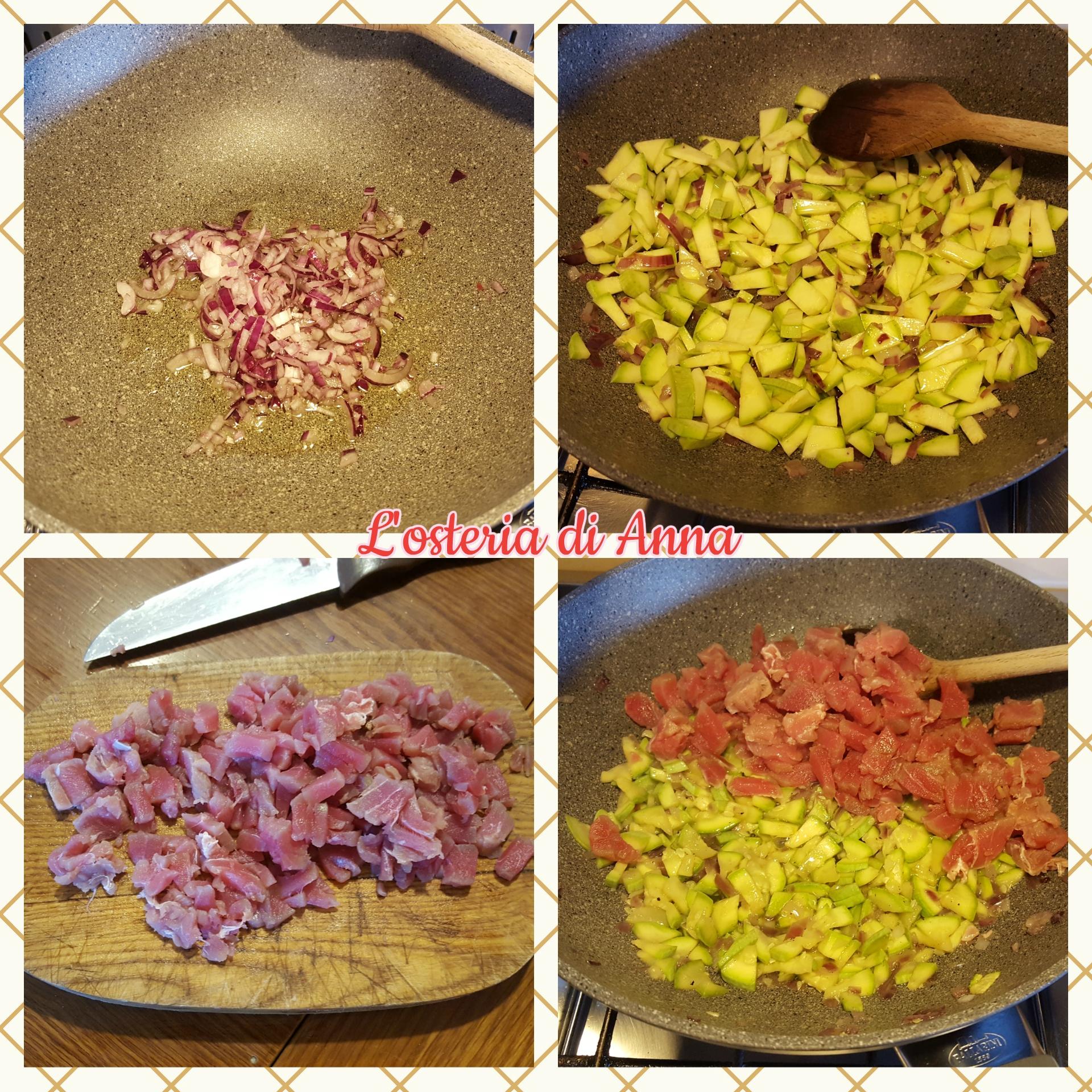 Cottura del ripieno a base di cipolla, zucchine e tonno fresco