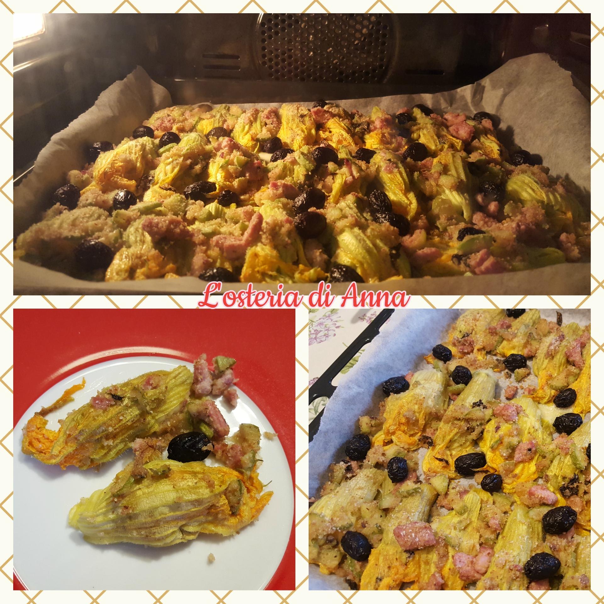 Cottura al forno dei fiori di zucca ripieni
