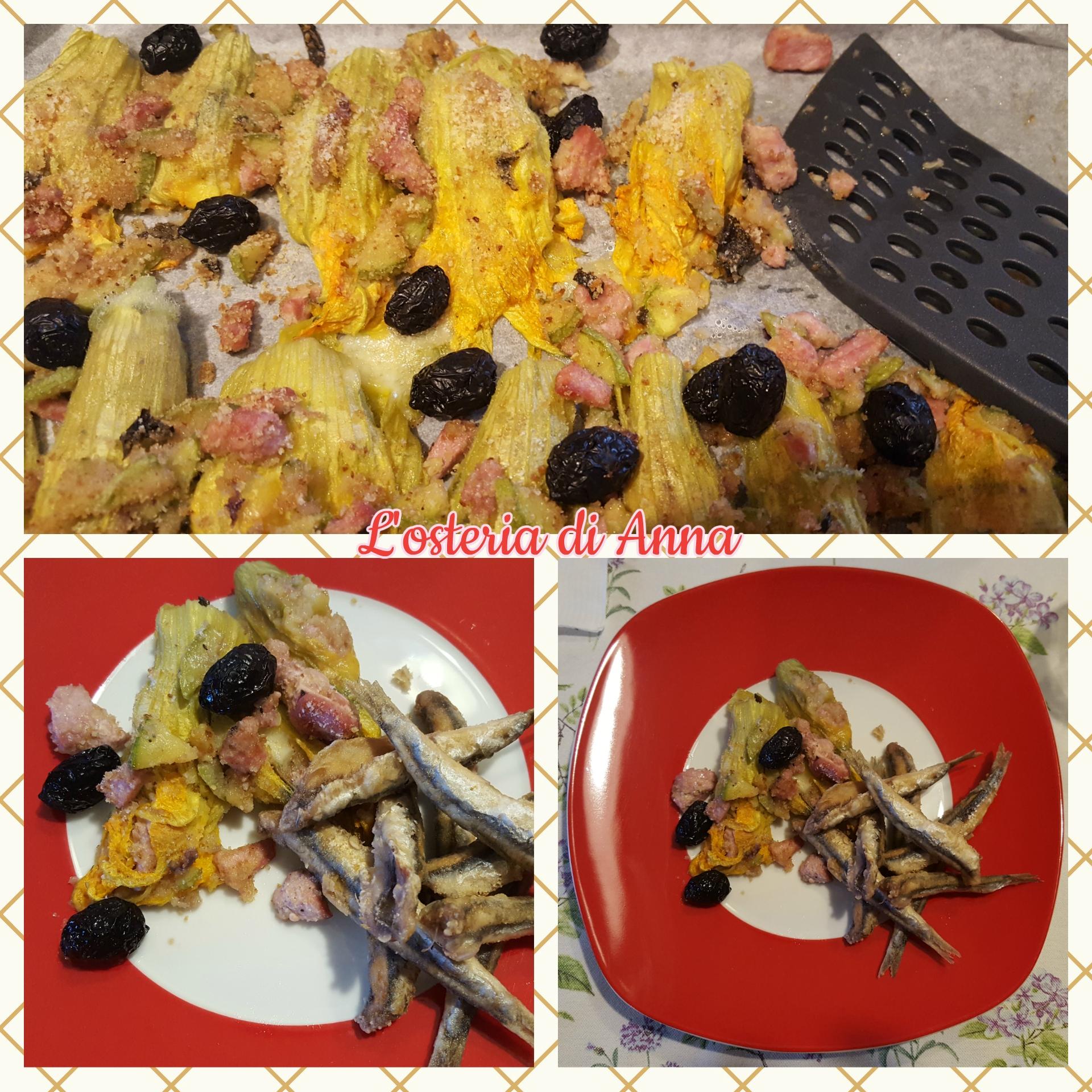 Fiori di zucca ripieni come contorno alle alici fritte