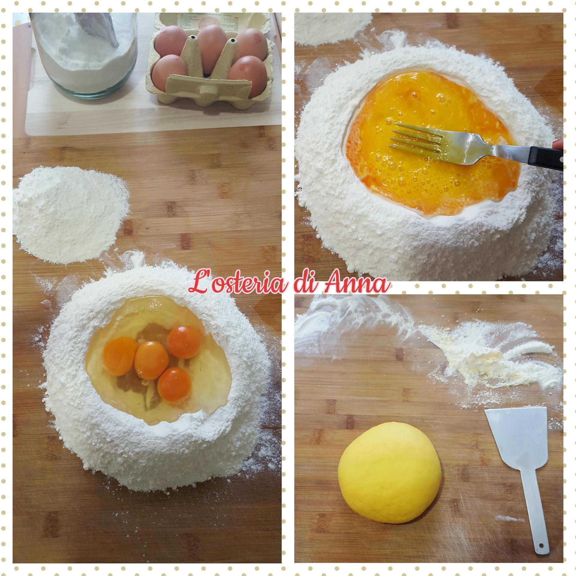 Impasto della pasta fresca all'uovo