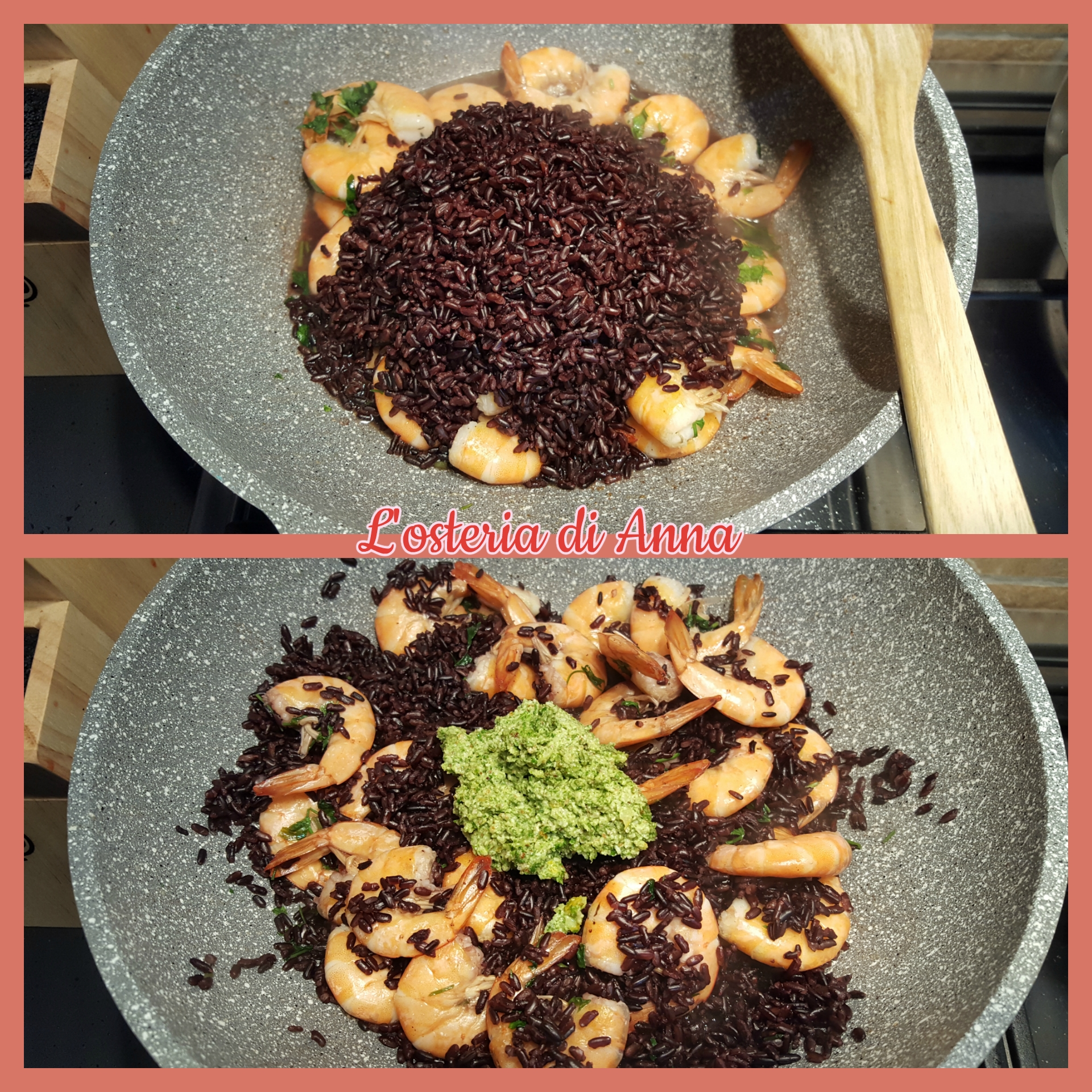Cottura del riso insieme ai gamberetti