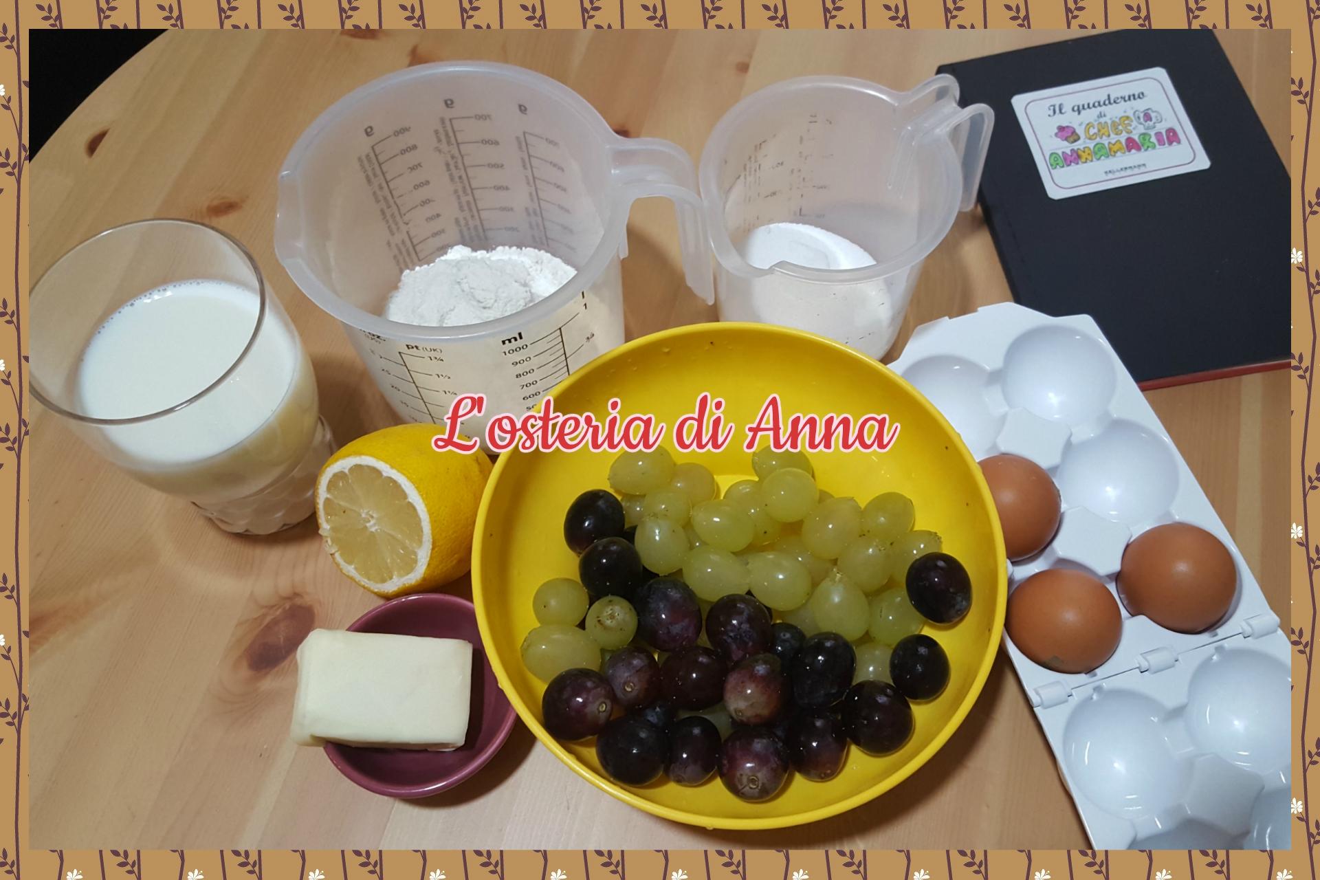 Ingredienti per realizzare la clafoutis di uva