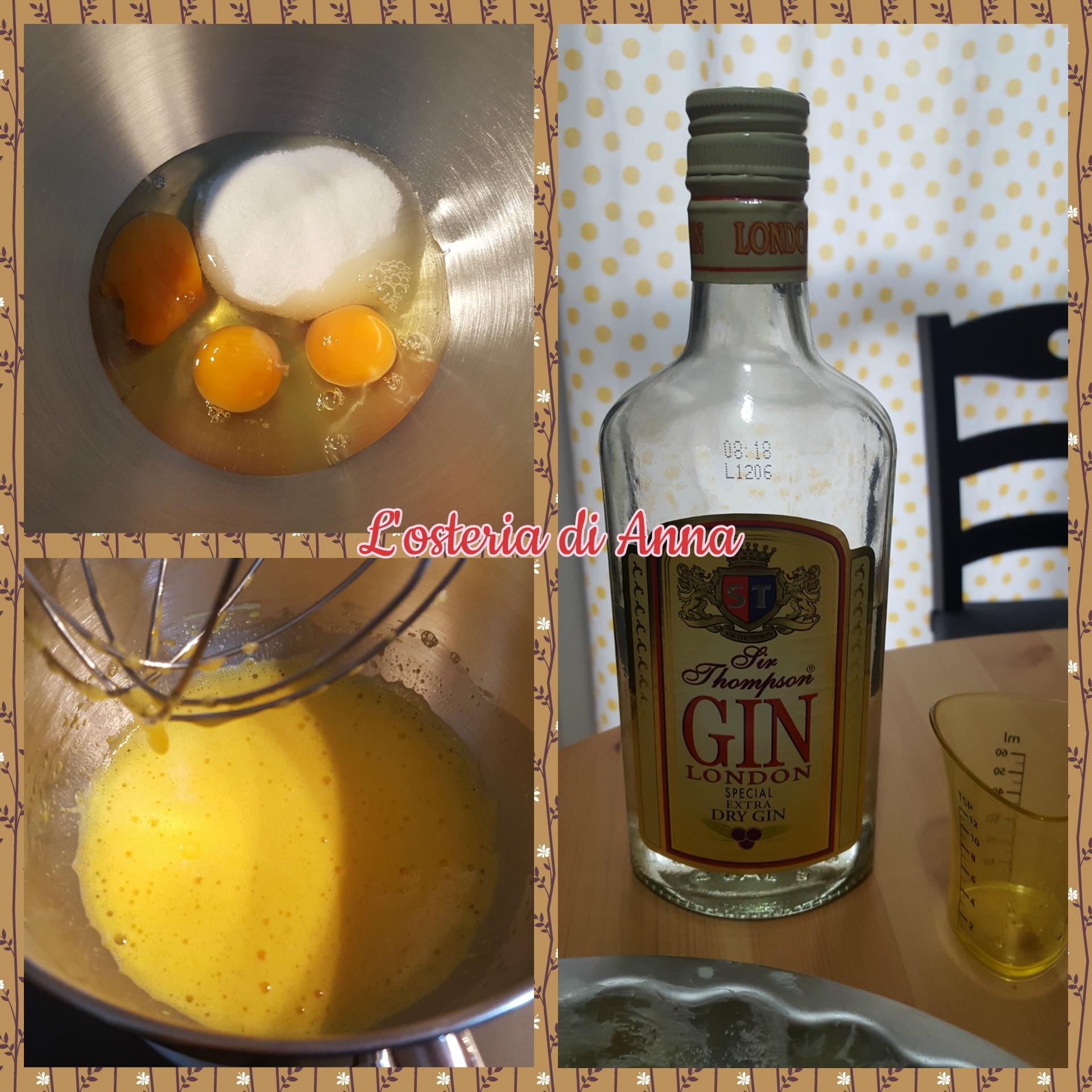 Sbattere le uova con lo zucchero e aromatizzare l'impasto al gin
