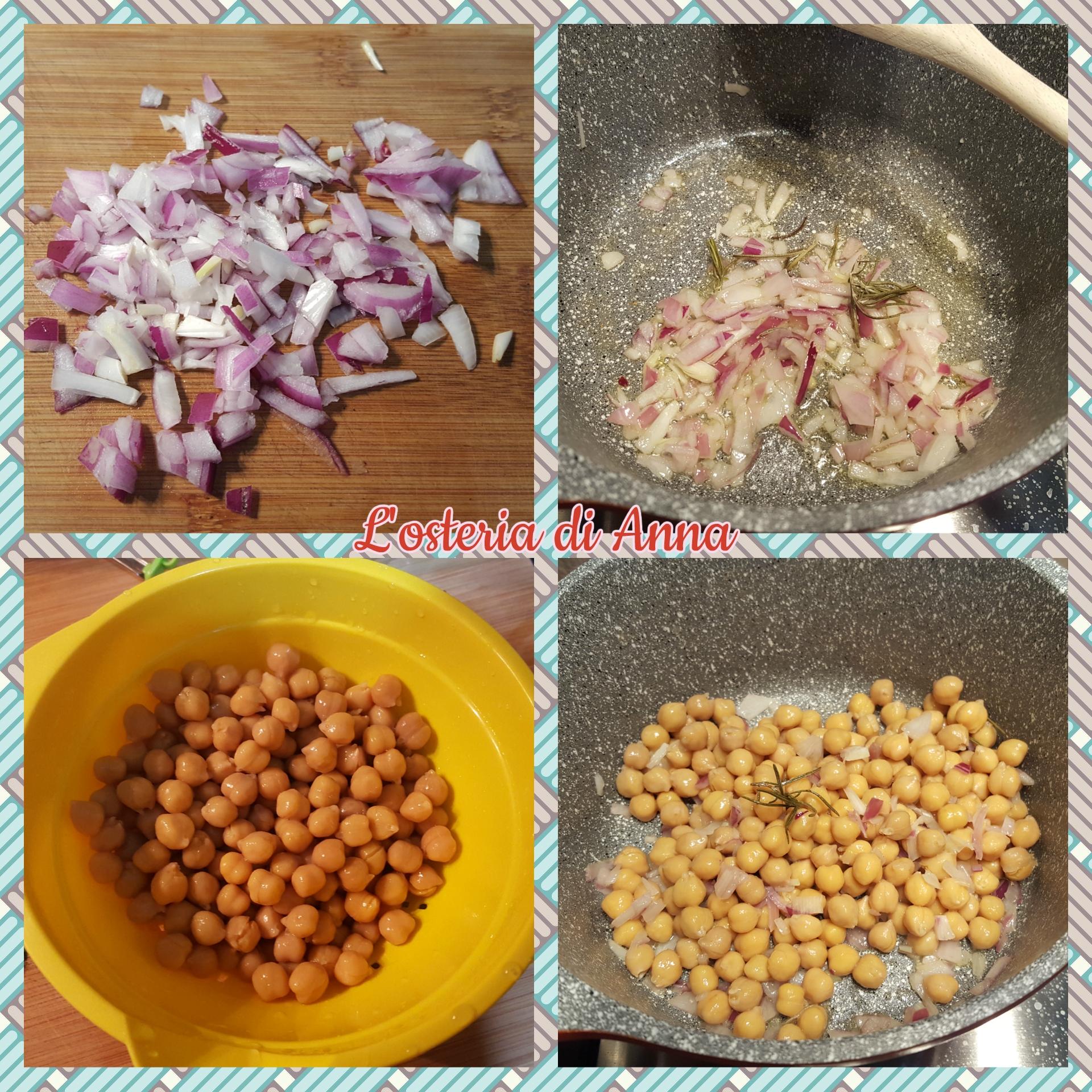Cottura dei ceci precotti nel soffritto di cipolla