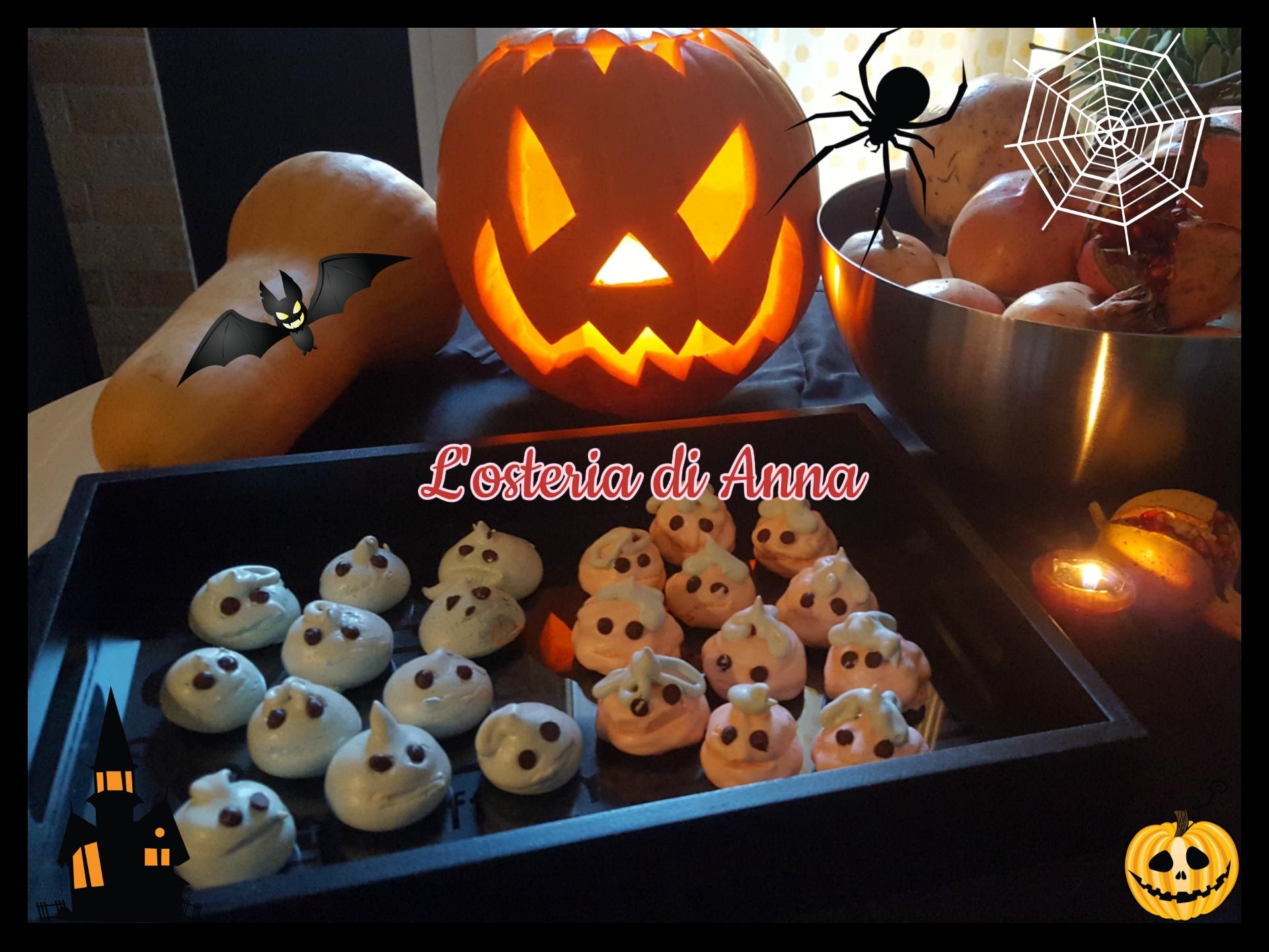 Mini zucche e fantasmini di meringhe (dolcetti Halloween)