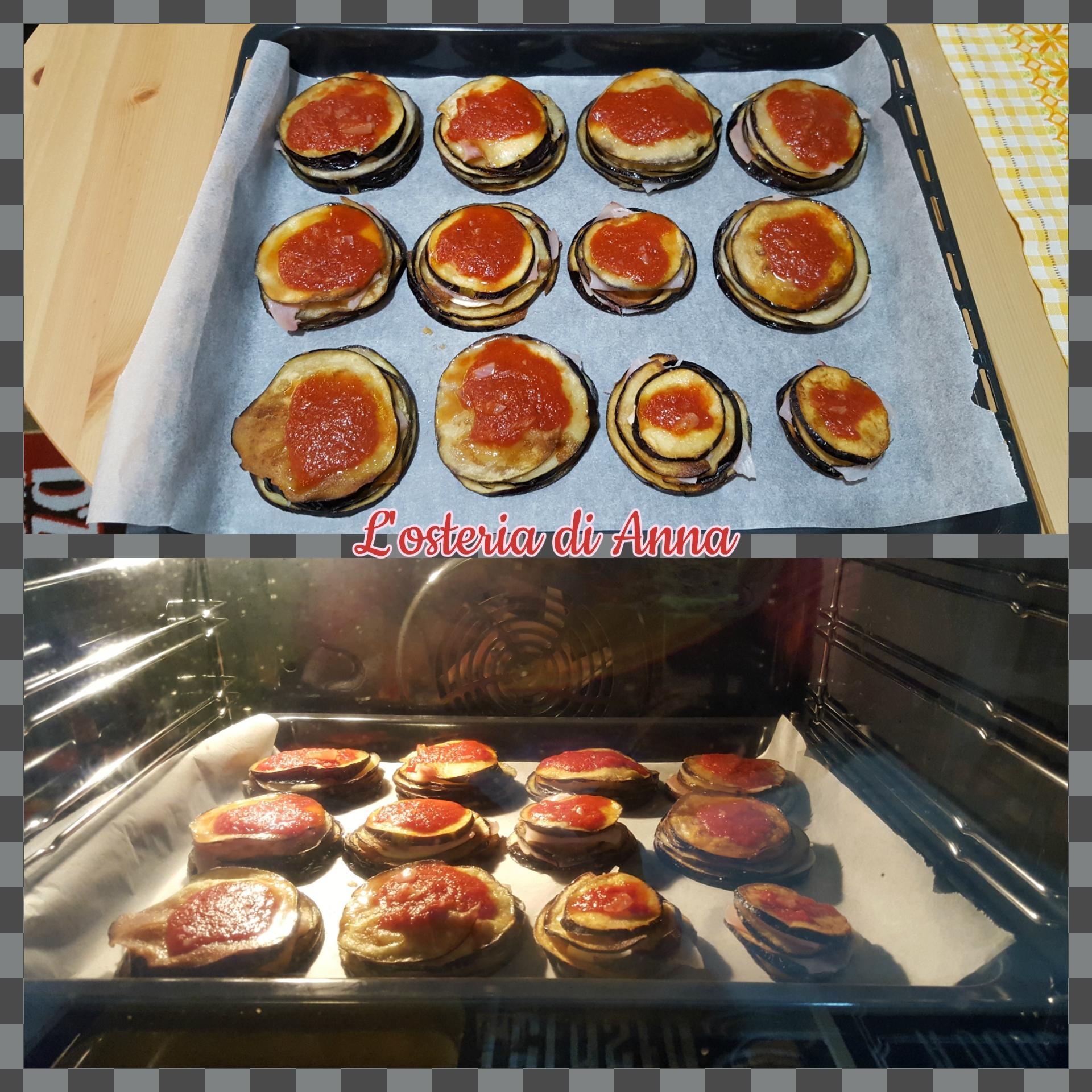 Cottura delle millefoglie di melanzane