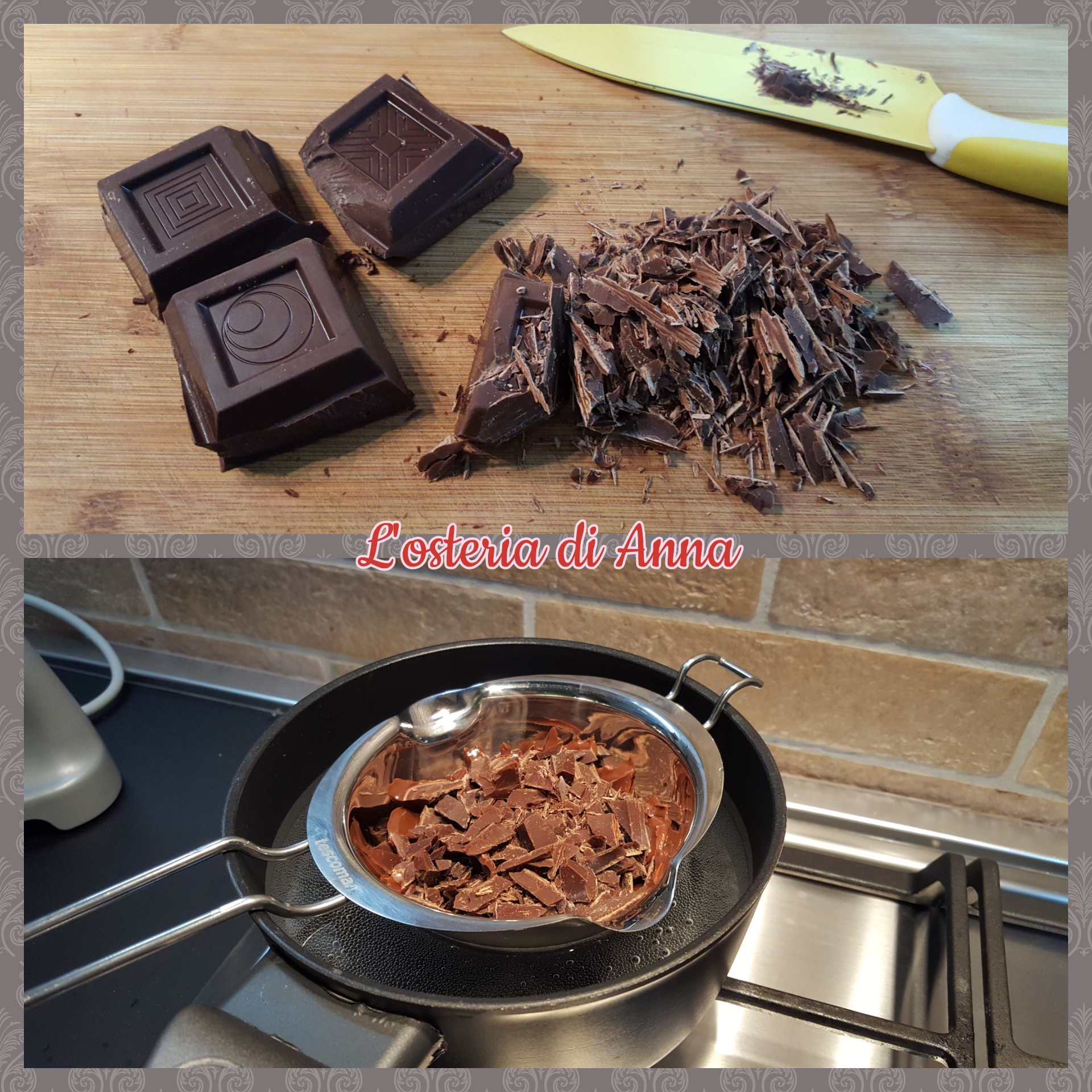 Tritare il cioccolato fondente e accoglierlo a bagnomaria