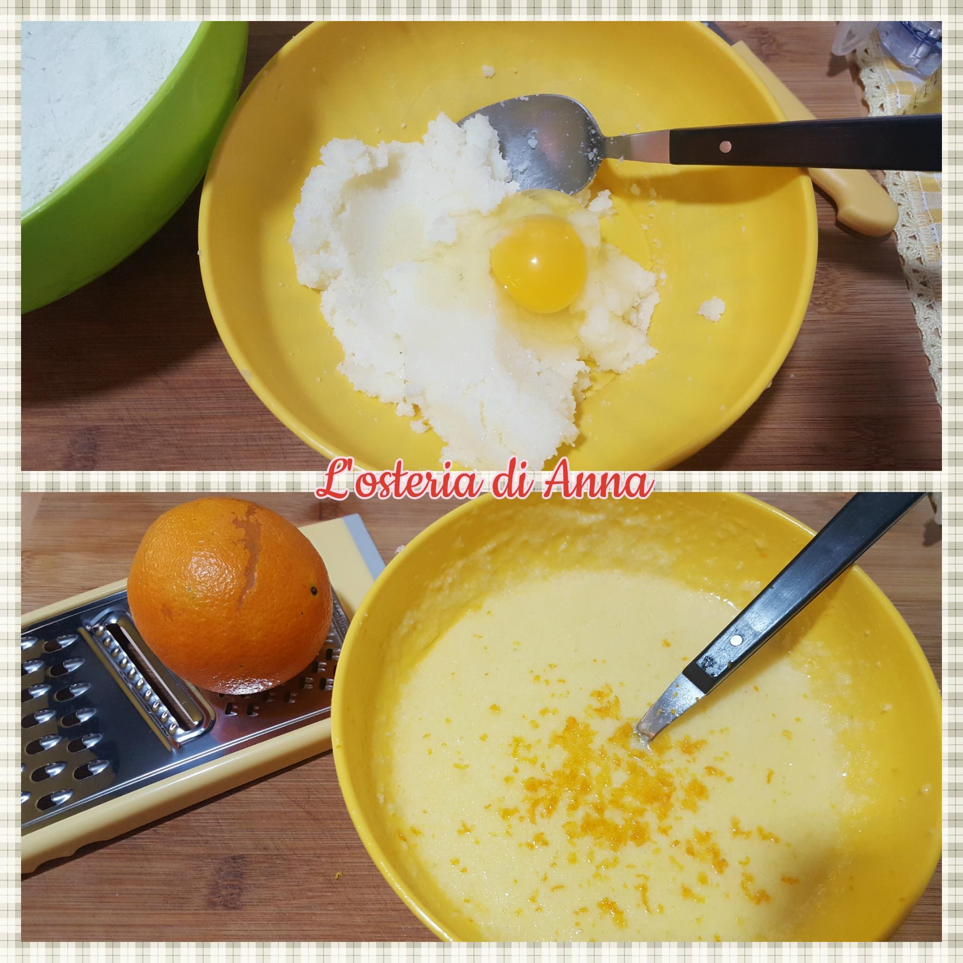 Al composto di burro e zucchero aggiungere le uova e la scorza di un'arancia