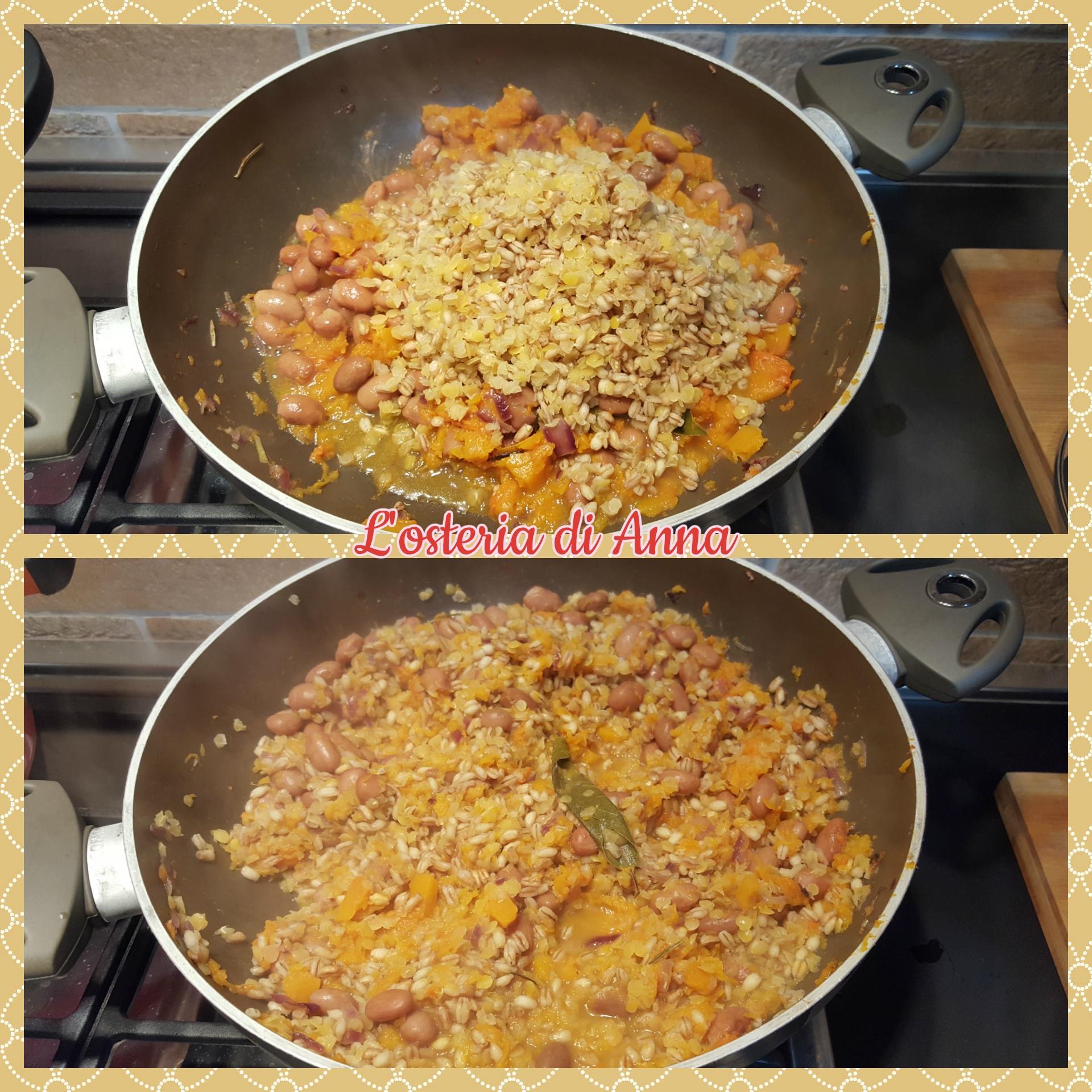 Unire i cereali alla zucca e fagioli