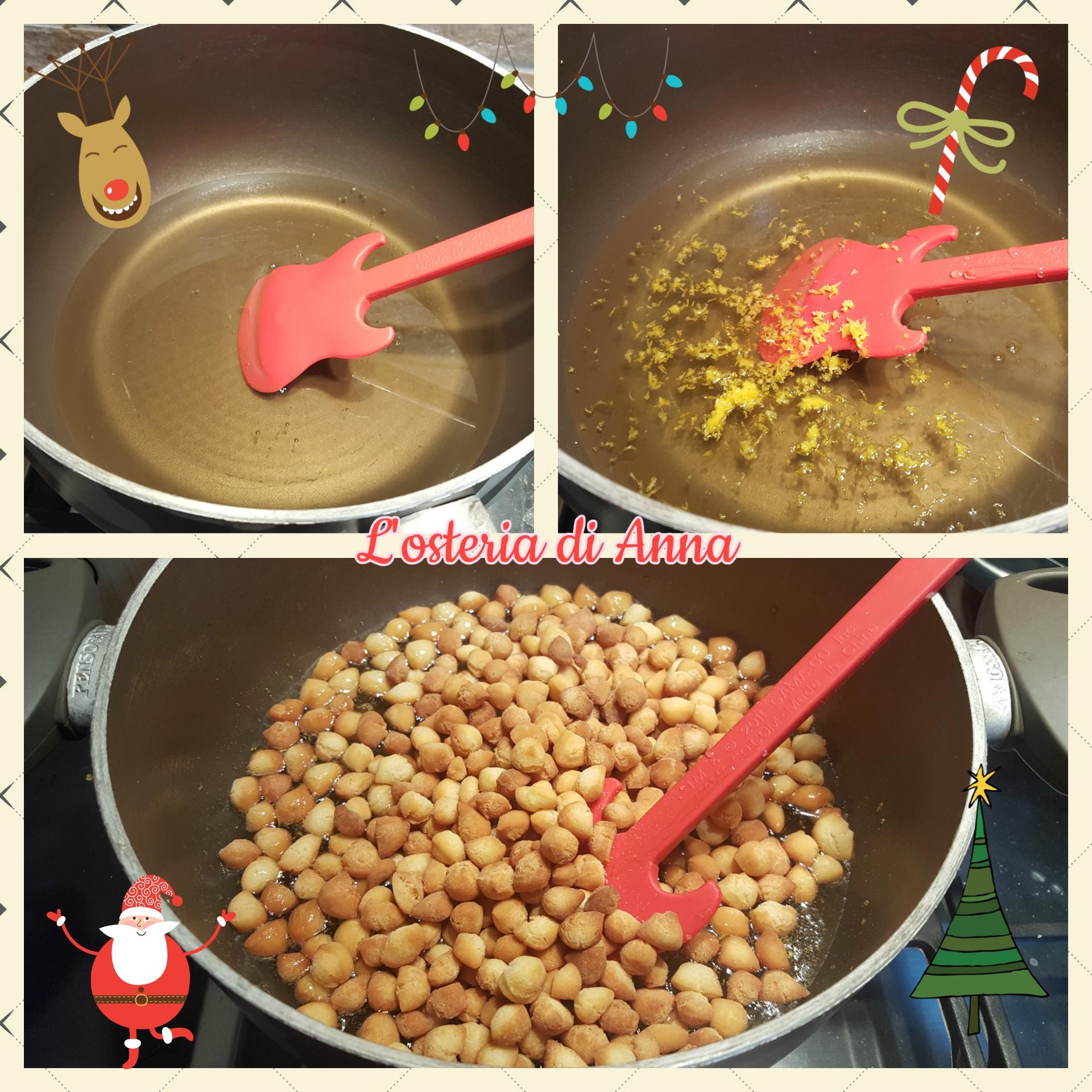 Amalgamare la pignolata col miele riscaldato