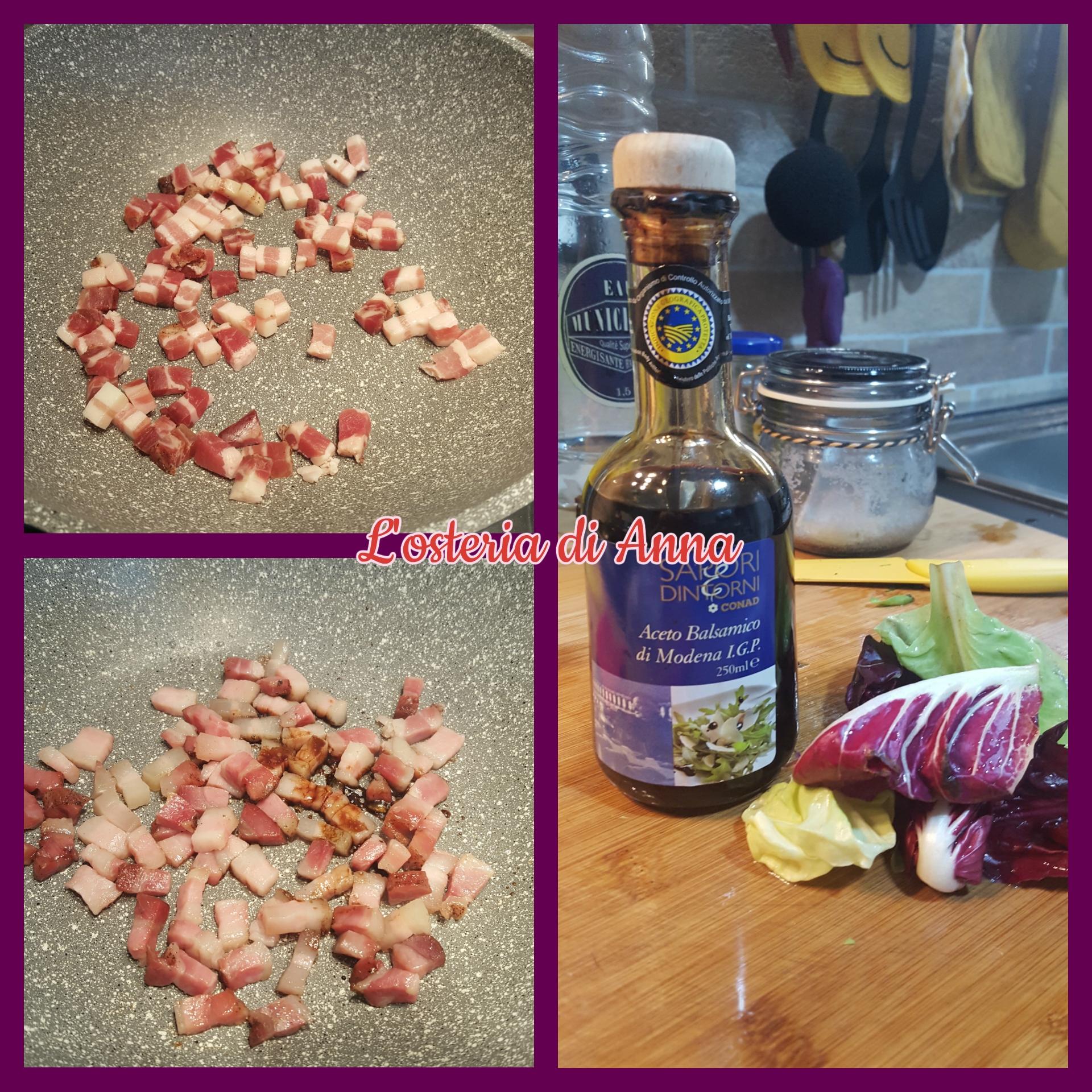 Cottura della pancetta e sfumatura con l'aceto balsamico