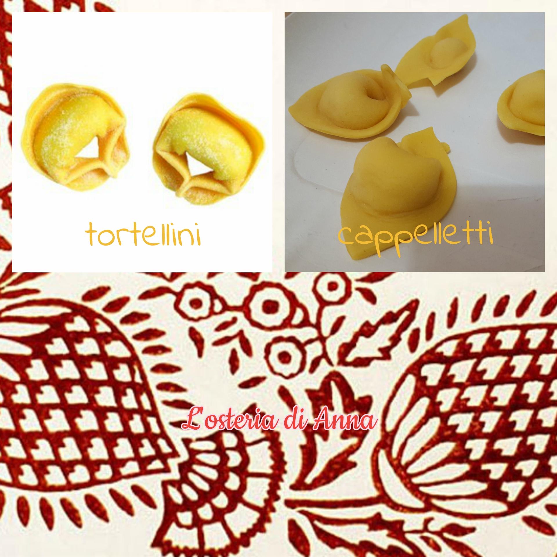 Differenza di forma tra tortellini bolognesi e cappelletti romagnoli