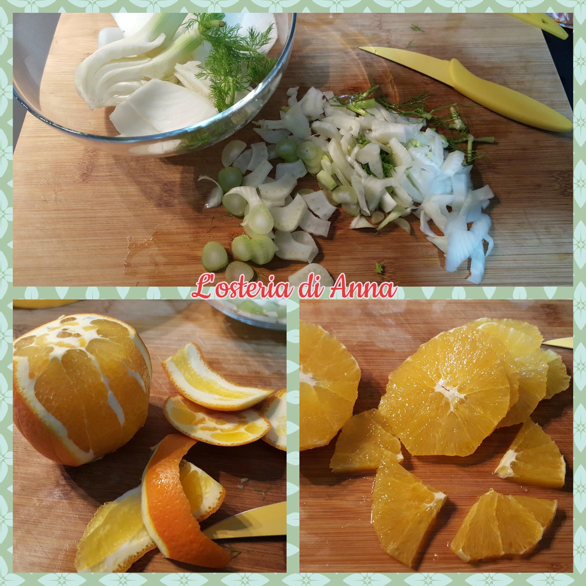 Tagliare il finocchio e le arance