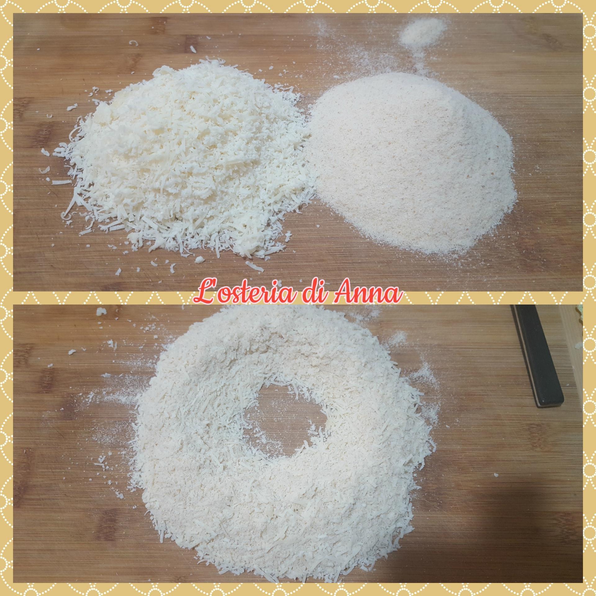 Preparazione dell'impasto dei passatelli (grana e pane grattugiato)