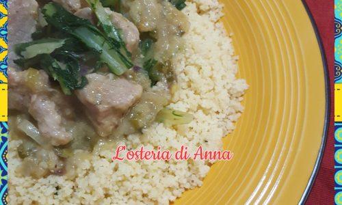Cous cous con cicoria e bocconcini di vitello al curry