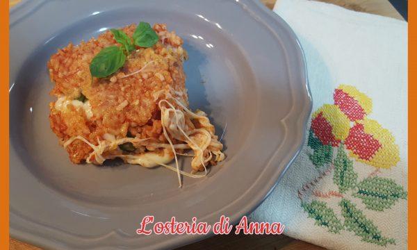 Sformato di riso con mozzarella e basilico
