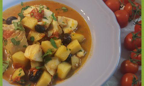 Merluzzo in umido con patate e pomodorini