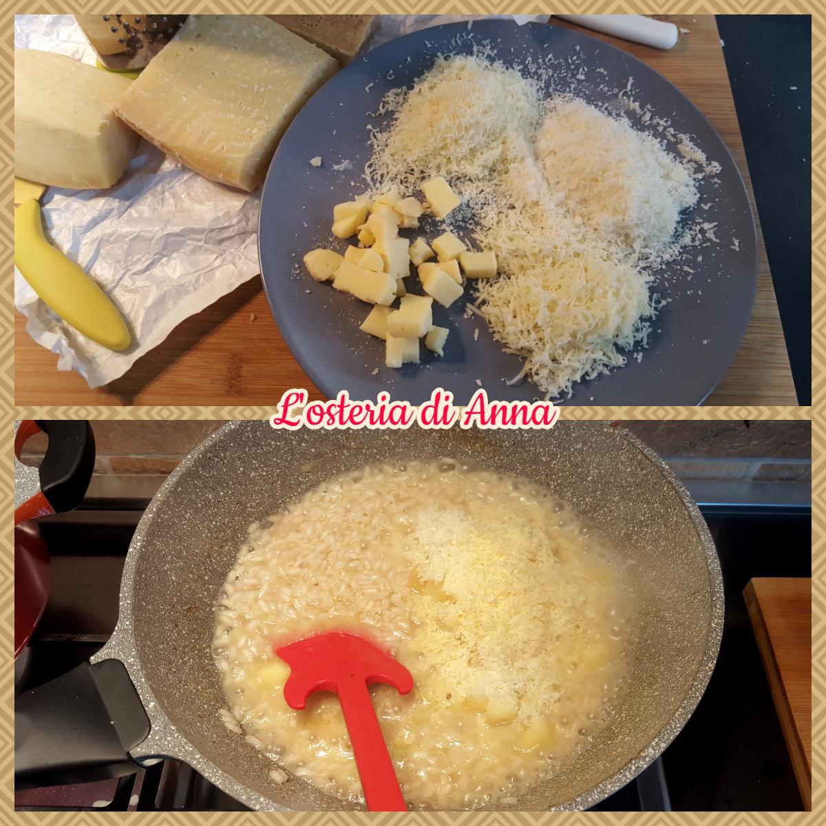 Aggiunta dei formaggi ai risotti
