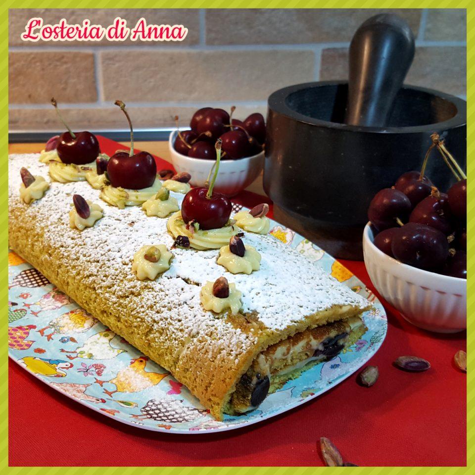 Rotolo al pistacchio con crema e amarene