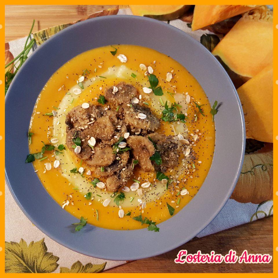 Vellutata di zucca e patate con funghi sabbiosi e mix di cereali