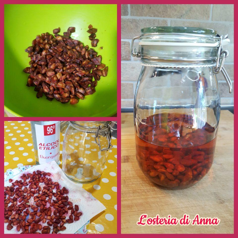 Macerazione dei noccioli di ciliegie con l'alcol
