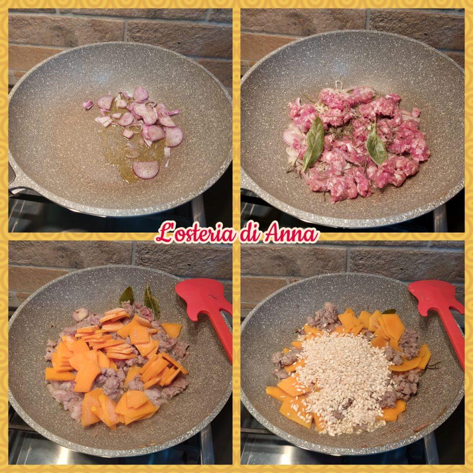 Cottura della zucca e salsiccia