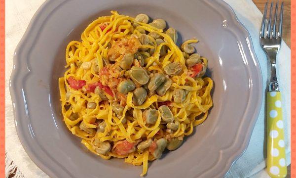 Tagliolini con fave e pomodorini