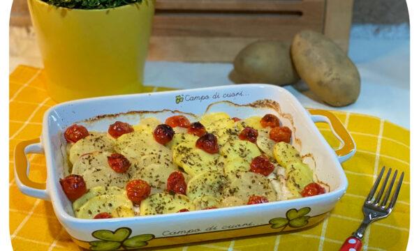 Filetti di gallinella di mare al forno con patate e pomodori