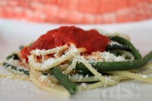 Spaghetti fagiolini e cacio