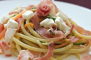Primi piatti facili e veloci: pasta con zucchine, prosciutto crudo e mozzarella