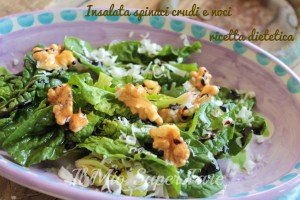 Insalata spinaci crudi e noci ricetta dietetica blog il mio saper fare