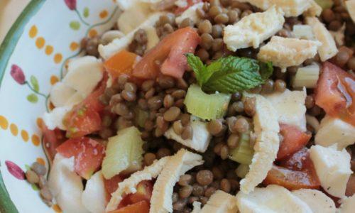 Insalata di lenticchie e pollo piatto freddo light