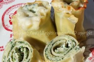 Lasagne ricce a rotolini con ricotta e spinaci