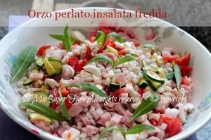 Orzo perlato insalata fredda zucchine e prosciutto cotto