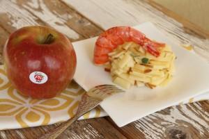 Gamberoni su tartare di mele Fuji