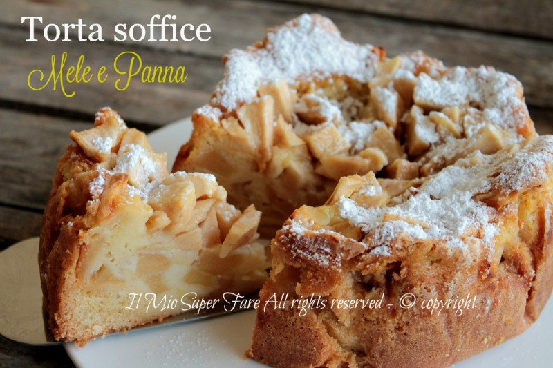 Torta mele e panna ricetta senza burro soffice e golosa