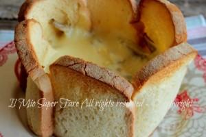 Cestino carciofi e formaggio filante con fette di pancarrè
