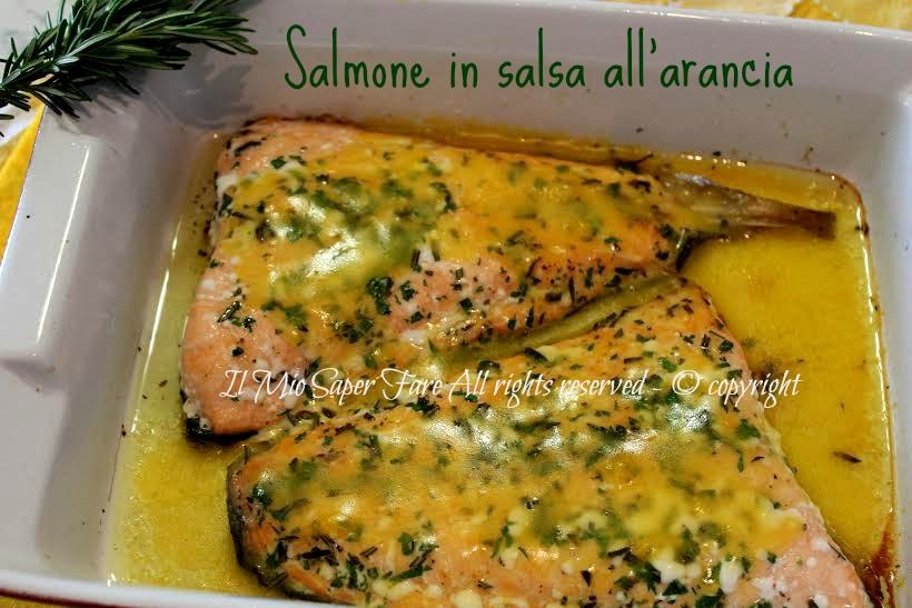 Salmone con crema di arancia secondi di pesce