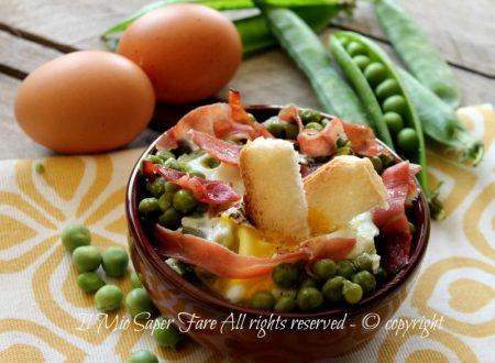 Piselli con uova e speck ricetta secondo facile