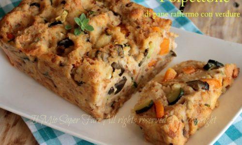 Polpettone di pane raffermo con verdure saltate in padella
