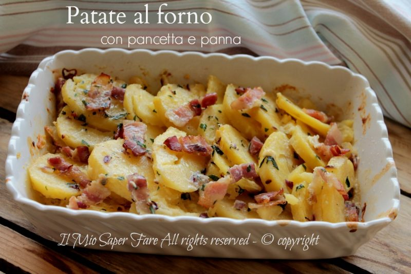 Patate al forno con pancetta e panna dorate e gustose - Come sostituire la panna da cucina ...