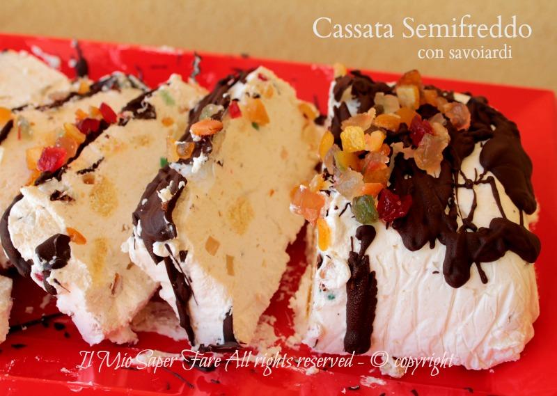 Cassata semifreddo con ricotta e savoiardi dolce senza cottura