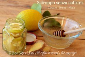 Sciroppo limone zenzero miele senza cottura rimedio per l'influenza