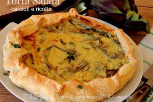 Ricette Suor Germana : torta salata carciofi e ricotta