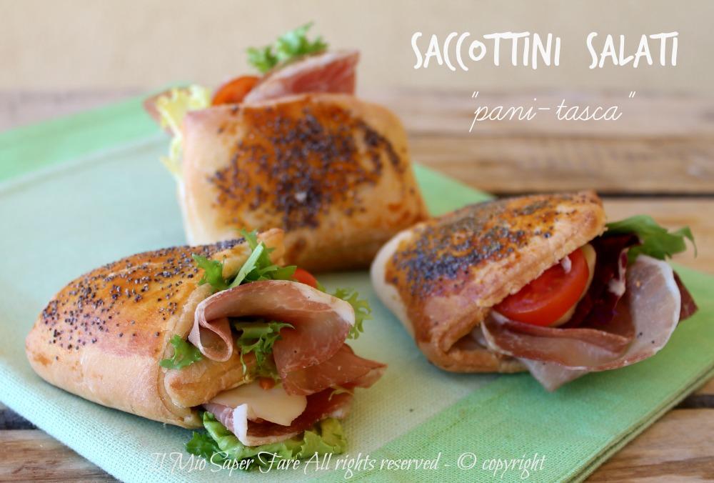 Saccottini salati | Panini tasca da farcire per buffet antipasti e merende salate il mio saper fare