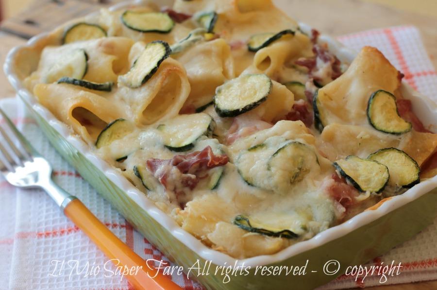 Paccheri cremosi al forno con zucchine ricetta facile il mio saper fare