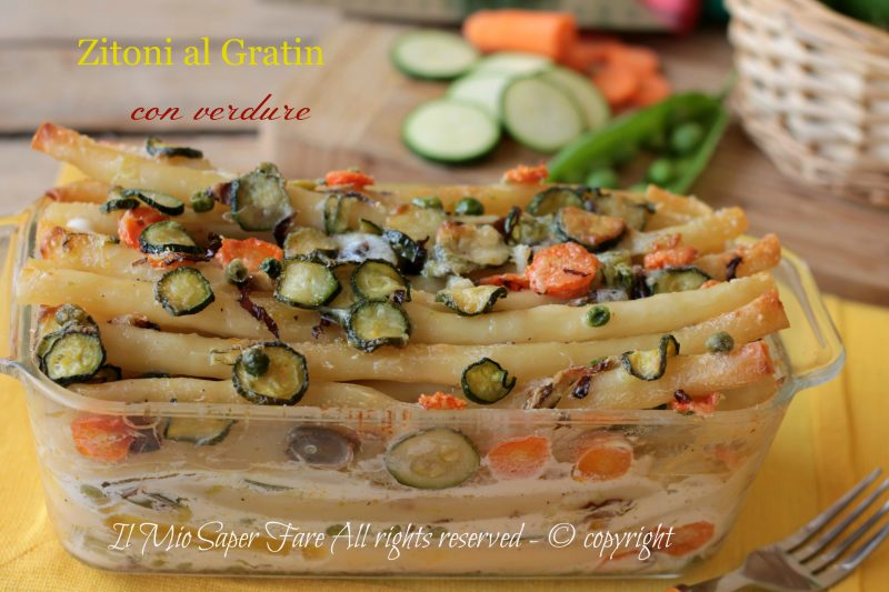 Zitoni al gratin con verdure dell'orto | Timballo di pasta con verdure ricetta il mio saper fare