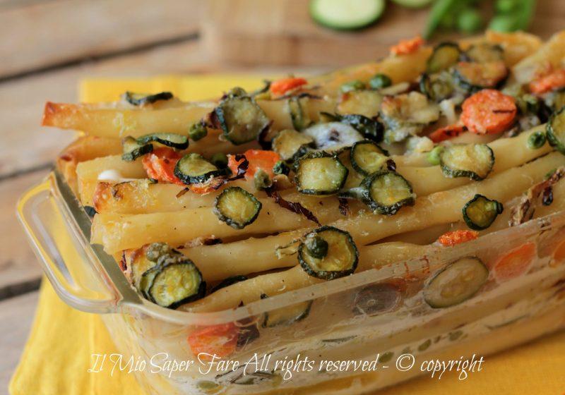 Zitoni al gratin con verdure dell'orto   Timballo di pasta con verdure ricetta il mio saper fare